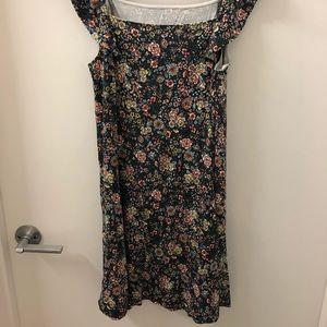 Floral flutter sleeve swing dress. LOFT small.